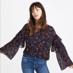 MADEWELL Tiered Sleeve Floral Top